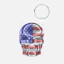 Patriotic Skull Keychains