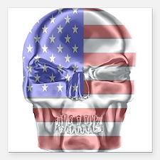 """Patriotic Skull Square Car Magnet 3"""" x 3"""""""