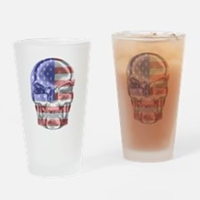 Patriotic Skull Drinking Glass