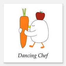 """Dancing Chef Square Car Magnet 3"""" x 3"""""""