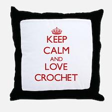 Keep calm and love Crochet Throw Pillow