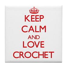 Keep calm and love Crochet Tile Coaster