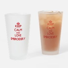 Keep calm and love Embroidery Drinking Glass