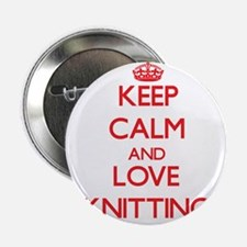 "Keep calm and love Knitting 2.25"" Button"