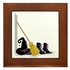 Witch Clothing Broom Framed Tile
