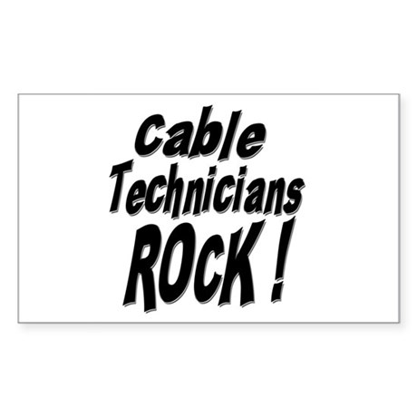 Cable Techs Rock ! Rectangle Sticker