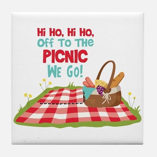 Hi Ho,Hi Ho, Off To The Picnic We Go! Tile Coaster
