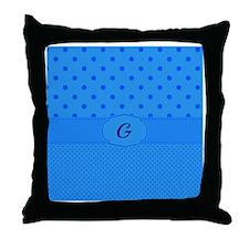 "Monogram ""G"" blue polka dots design Throw Pillow"