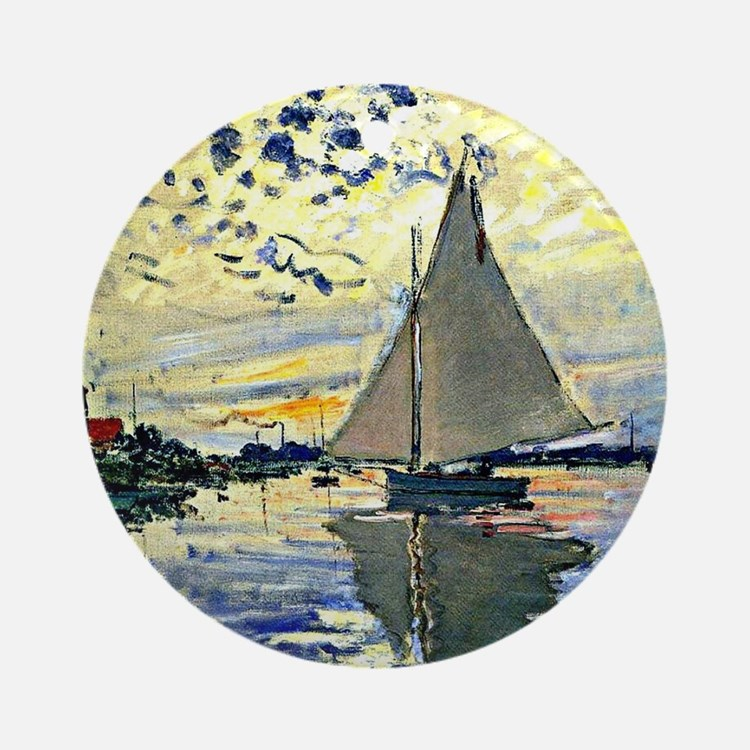 Monet - Sailboat at le Petit Gennev Round Ornament