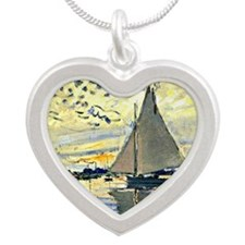 Monet - Sailboat at le Petit Silver Heart Necklace