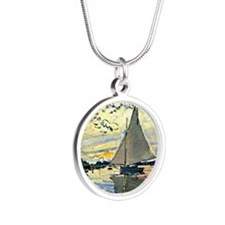 Monet - Sailboat at le Petit Silver Round Necklace