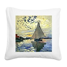 Monet - Sailboat at le Petit  Square Canvas Pillow