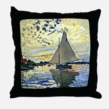 Monet - Sailboat at le Petit Gennevil Throw Pillow