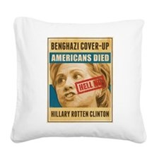 Hell No Hillary Square Canvas Pillow