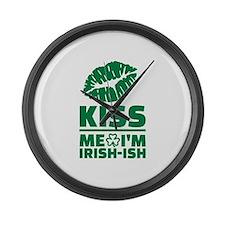 Kiss me Im Irish-ish green lips Large Wall Clock