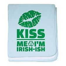 Kiss me Im Irish-ish green lips baby blanket