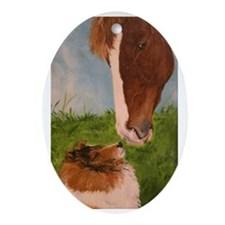 Sable Sheltie and Horse Oval Ornament