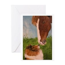 Sable Sheltie and Horse Greeting Card