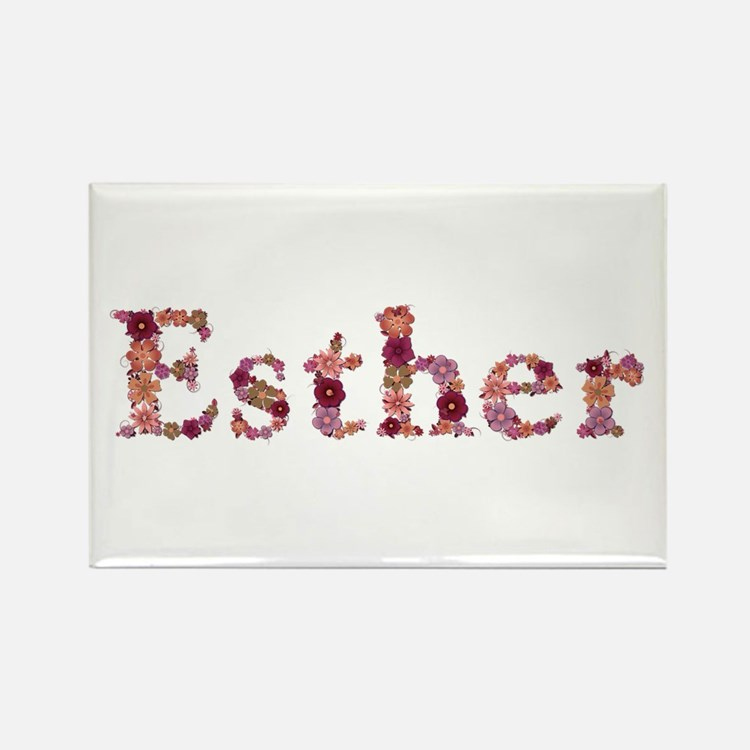 Esther Pink Flowers Rectangle Magnet
