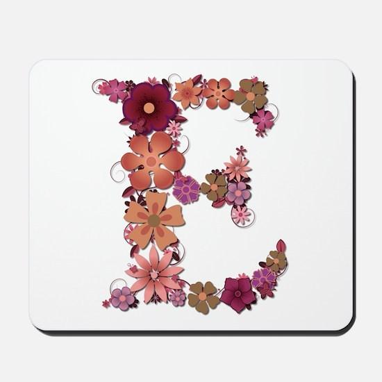 E Pink Flowers Mousepad