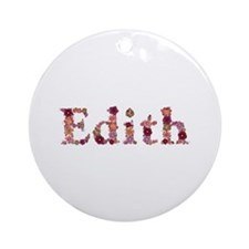 Edith Pink Flowers Round Ornament