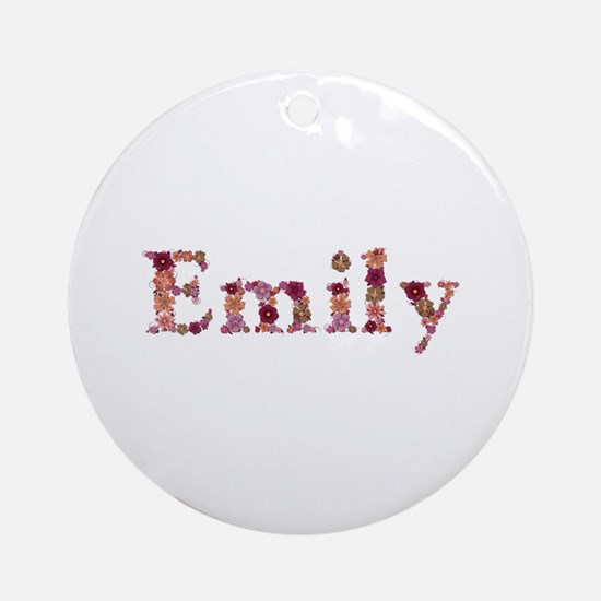 Emily Pink Flowers Round Ornament