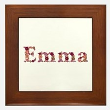 Emma Pink Flowers Framed Tile