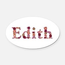 Edith Pink Flowers Oval Car Magnet