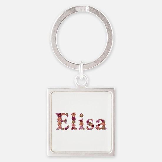Elisa Pink Flowers Square Keychain