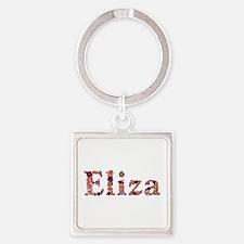 Eliza Pink Flowers Square Keychain
