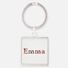 Emma Pink Flowers Square Keychain