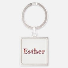Esther Pink Flowers Square Keychain