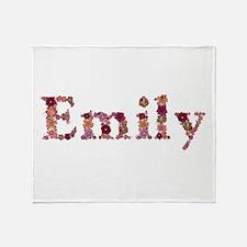 Emily Pink Flowers Throw Blanket