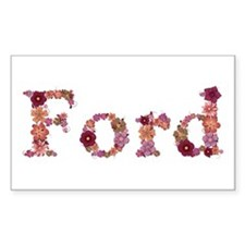 Ford Pink Flowers Rectangle Decal