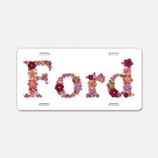 Ford Pink Flowers Aluminum License Plate