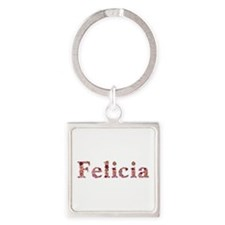Felicia Pink Flowers Square Keychain