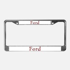 Ford Pink Flowers License Plate Frame