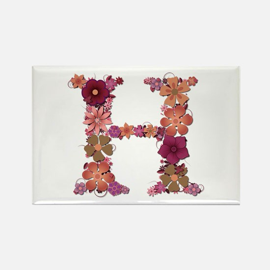 H Pink Flowers Rectangle Magnet