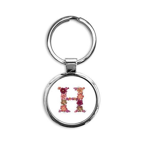 H Pink Flowers Round Keychain