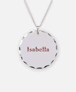 Isabella Pink Flowers Necklace Circle Charm