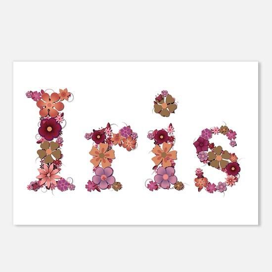 Iris Pink Flowers Postcards 8 Pack