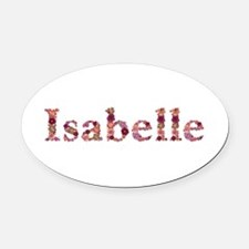 Isabelle Pink Flowers Oval Car Magnet