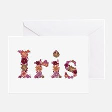 Iris Pink Flowers Greeting Card