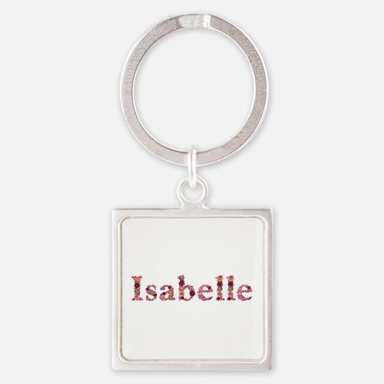 Isabelle Pink Flowers Square Keychain