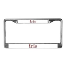 Iris Pink Flowers License Plate Frame