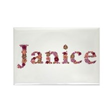 Janice Pink Flowers Rectangle Magnet