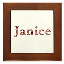 Janice Pink Flowers Framed Tile