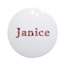 Janice Pink Flowers Round Ornament