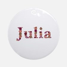 Julia Pink Flowers Round Ornament