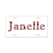Janelle Pink Flowers Aluminum License Plate